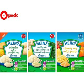 Heinz Cereals Combo (Pack of 6) 2 Baby Rice Garden Veg + 2 MG Cauliflower & Broccoli + 2 Cheesy Veg Pasta