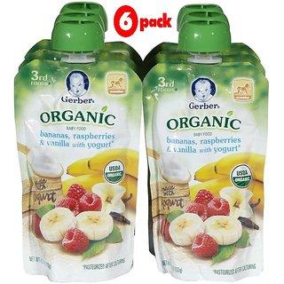 Gerber 3rd Foods 120G (4.23oz) - Organic Bananas, Rasberries & Vanilla Yogurt (Pack of 6)