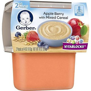 Gerber 2nd Foods 2pk 226g (8oz) - Apple Berry with Mixed Cereal