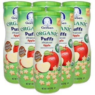 Gerber Organic Puffs 42G (1.48oz) - Apple (Pack of 6)