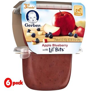 Gerber 3rd Foods 2Pk 284G (10oz) - Apple Blueberry With Little Bits (Pack of 6)