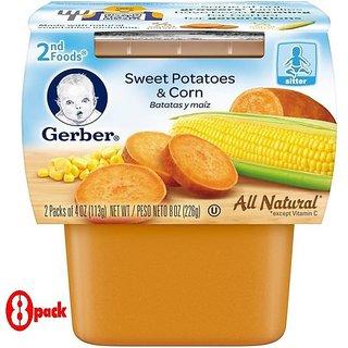 Gerber 2nd Foods 2Pk 226G (8oz) - Sweet Potatoes & Corn (Pack of 8)