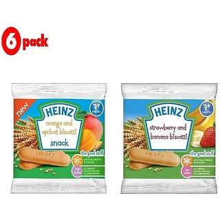 Heinz Biscotti Snack Combo (7m+) (Pack of 6) 60G - 3 Mango & Apricot + 3 Stawberry & Banana