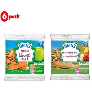 Heinz Biscotti Snack Combo (7m+) (Pack of 6) 60G - 3 Apple + 3 Stawberry & Banana