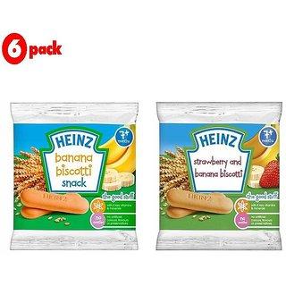 Heinz Biscotti Snack Combo (7m+) (Pack of 6) 60G - 3 Banana + 3 Stawberry & Banana