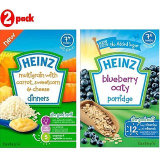 Heinz Cereals Combo (Pack of 2) MG Carrot, Sweetcorn & Cheese + Blueberry Oaty Porridge