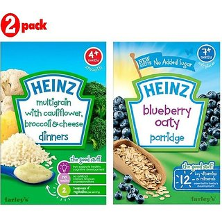 Heinz Cereals Combo (Pack of 2) MG Cauliflower & Broccoli Cheese + Blueberry Oaty Porridge