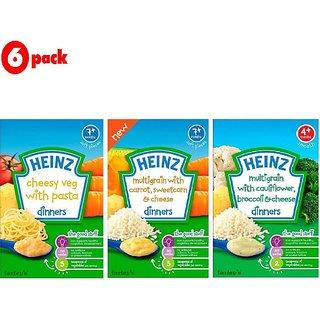 Heinz Cereals Combo (Pack of 6) 2 Cheesy Veg Pasta + 2 MG Cauliflower & Broccoli + 2 MG Carrot Sweetcorn & Cheese