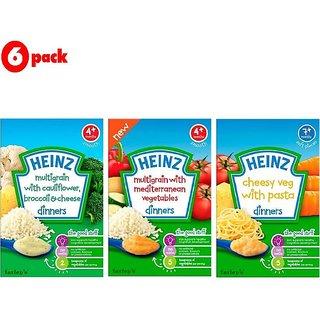 Heinz Cereals Combo (Pack of 6) 2 MG Cauliflower & Broccoli + 2 MG Mediterranean Vegetables + 2 Cheesy Veg Pasta