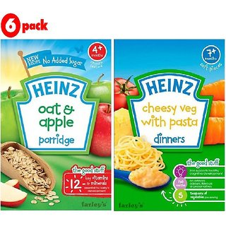 Heinz Cereals Combo (Pack of 6) 3 Oat & Apple + 3 Cheesy Veg Pasta