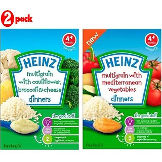 Heinz Cereals Combo (Pack of 2) (4m+) MG Cauliflower & Broccoli Cheese + MG With Medi Veg