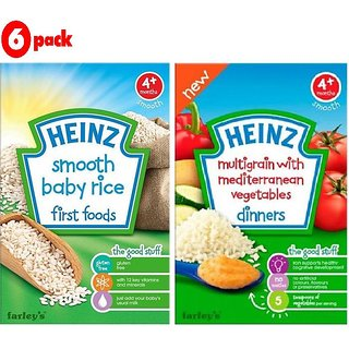 Heinz Cereals Combo (Pack of 6) 3 Smooth Baby Rice + 3 MG Mediterranean Vegetables