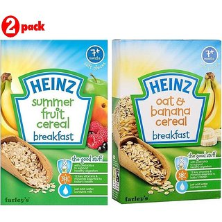 Heinz Cereals Combo (Pack of 2) (7m+) Summer Fruit Multigrain + Oat & Banana Multigrain