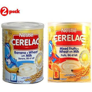Nestle Cerelac Combo 400G (Pack of 2) Banana & Wheat + Mixed Fruits