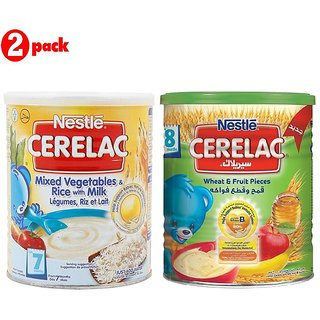 Nestle Cerelac Combo 400G (Pack of 2) Mixed Vegetables & Rice + Wheat & Fruit Pieces