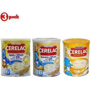 Nestle Cerelac Combo 400G (Pack of 3) Apple + Banana + Rice with Milk