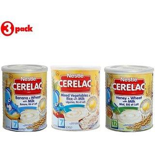 Nestle Cerelac Combo 400G (Pack of 3) Banana & Wheat + Mixed Veg & Rice + Honey & Wheat