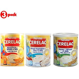Nestle Cerelac Combo 400G (Pack of 3) Mixed Fruits + Mixed Vegetables & Rice + Honey & Wheat