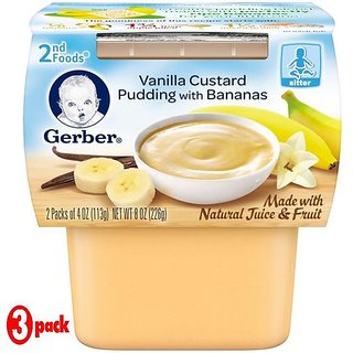 Gerber 2nd Foods 2Pk 226G (8oz) - Vanilla Custard Pudding With Bananas (Pack of 3)
