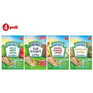 Heinz Cereals Combo (Pack of 4) (4m+) Oat & Apple + Fruit & Yogurt + Sunrise Banana + Creamy Oat