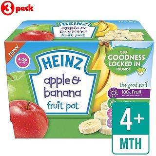 Heinz Apple & Banana Fruit Pot 4Pk (4-36m) - 400G (Pack of 3)