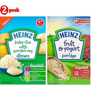 Heinz Cereals Combo (Pack of 2) Baby Rice With Garden Veg + Fruit & Yogurt Porridge