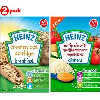 Heinz Cereals Combo (Pack of 2) Creamy Oat Porridge + Multigrain With Mediterranean Vegetables