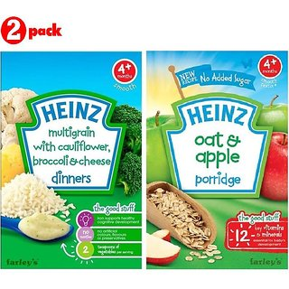 Heinz Cereals Combo (Pack of 2) MG Cauliflower & Broccoli Cheese + Oat & Apple Porridge