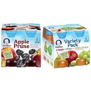 Gerber Juice 4Pk 473ml (16oz) Combo (Pack of 2) - Apple Prune Juice & Variety Pack Juice