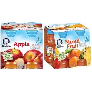 Gerber Juice 4Pk 473ml (16oz) Combo (Pack of 2) - Apple Juice & Mixed Fruit Juice