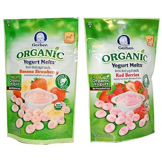 Gerber Organic Yogurt Melts Combo 28G (Pack of 2) - Banana Strawberry & Red Berries