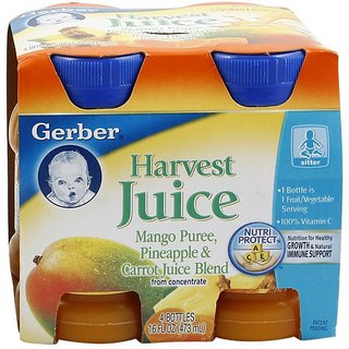 Gerber Juice 4Pk 473ml (16oz) - Mango Pineapple & Carrots Juice