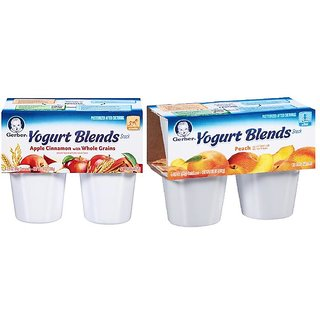 Gerber Yogurt Blends Snack Combo 396G (14oz)(Pack of 2) - Apple Cinnamon & Peach