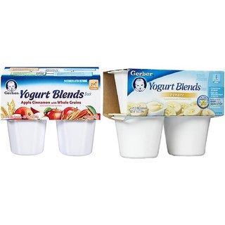 Gerber Yogurt Blends Snack Combo 396G (14oz)(Pack of 2) - Apple Cinnamon & Banana