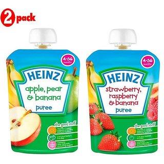 Heinz Puree Combo (Pack of 2) Apple, Pear & Banana + Strawberry & Rasberry