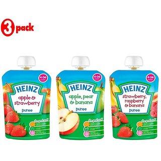 Heinz Puree Combo (Pack of 3) Apple & Strawberry + Apple, Pear & Banana + Strawberry & Rasberry
