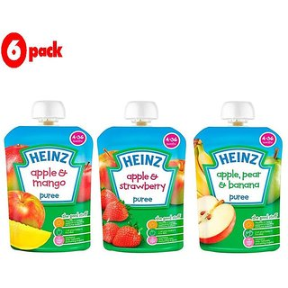 Heinz Puree Combo (Pack of 6) 2 Apple & Mango + 2 Apple & Strawberry + 2 Apple, Pear & Banana