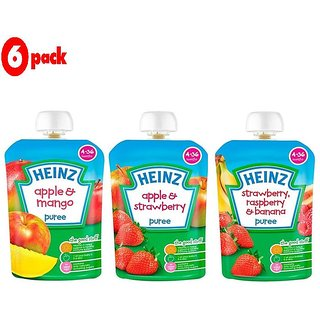 Heinz Puree Combo (Pack of 6) 2 Apple & Mango + 2 Apple & Strawberry + 2 Strawberry & Rasberry