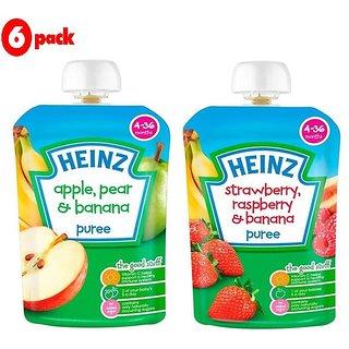 Heinz Puree Combo (Pack of 6) 3 Apple, Pear & Banana + 3 Strawberry & Rasberry