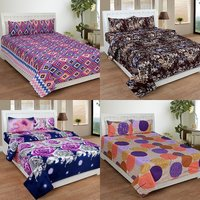 BSB Trendz 3D Printed Double Bedsheet With 2 Pillow Covers