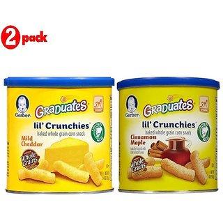 Gerber Graduates Lil' Crunchies Combo 42G (1.48oz) (Pack of 2) - Mild Cheddar + Cin Maple