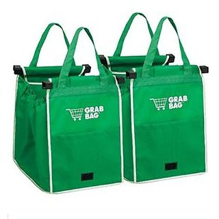 Grab Bag Pack Set Of 2 With 2 Clip To Shopping Cart Reusable Portable