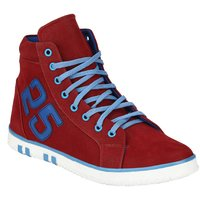 Wave Walk Red CANVAS Men's High Top Shoes