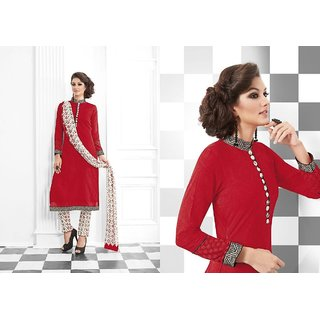 Women's red Georgette Long Salwar Suit Dress