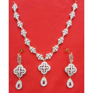 hite And Red Pearl American Diamond Star Shape Necklace Set With Drop Earrings For Women