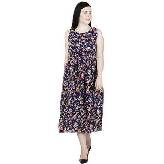 Rs Fashion Brown Floral Crepe Dress