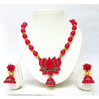 Terracotta-Lotus Pink Necklace & Jhumkas