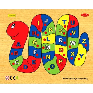 Learners Play Alphabet on Snake Puzzle ( Knob ) Size 9x12