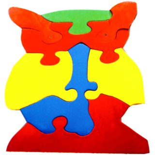 Learners Play Owl Jigsaw Puzzle-Colored