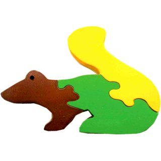 Learners Play Squirrel Jigsaw Puzzle-Colored